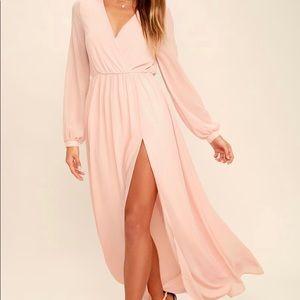 Lulu's Wondrous Water Lilies Blush Pink Maxi Dress
